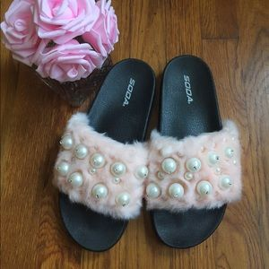 Furry, Pearl Beaded Slides- Sandals sz: 10